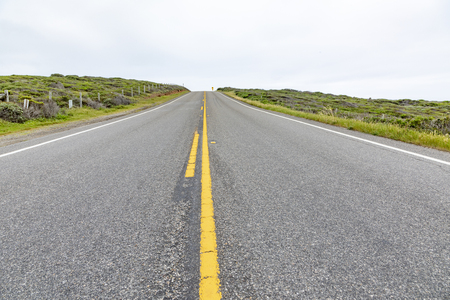 detail of cabrillo highway with yellow median stripe in California, USA Zdjęcie Seryjne - 122950119