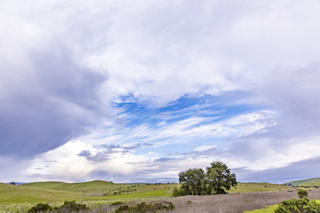 scenic landscape at Cabrillo highway with meadows and scenic blue cloudy sky