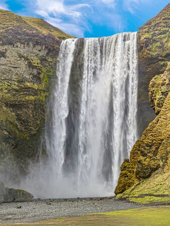 view of Skogafoss Iceland waterfall in Spring Season Zdjęcie Seryjne