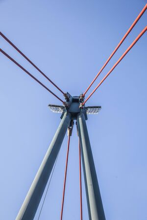 bridge pillar or A-shaped pylon of the Holbeinsteg Bridge   Holbeinsteg Frankfurt.
