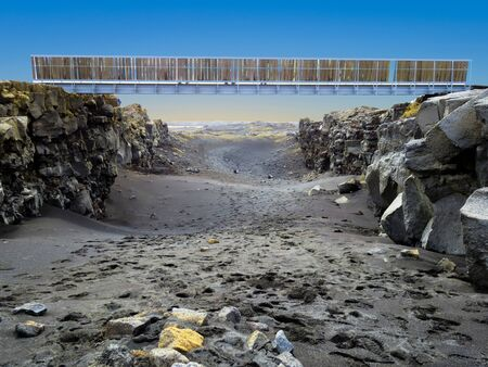 Bridge Between Continents in Álfagjá rift that connects two continents on Reykjanes peninsula in south of Iceland