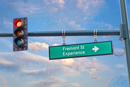 street sign Fremont St Street Experience in Las Vegas, USA Stock Photo