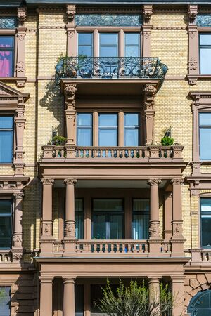 facade of loft apartments in old classicistic houses and villas in Wiesbaden