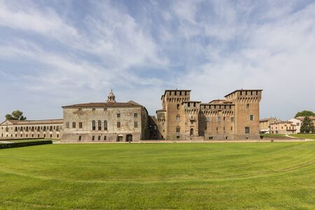 Medieval fortress, Gonzaga Saint George (Giorgio) castle in  Mantua (Mantova), Italy Publikacyjne