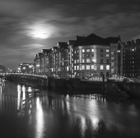historic Speicherstadt at night in Hamburg