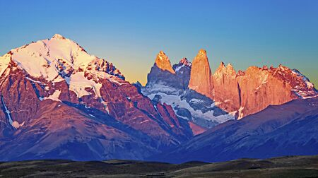 scenic view to Fitz Roy mountain in Argentina, Patagonia in sunset 写真素材