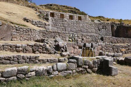 Tambomachay, sitio Inca con canales, cascadas y acueductos cerca de Cusco Foto de archivo