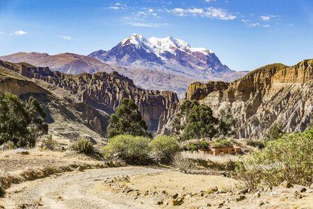 scenic View of Mount Illimani in La Paz Bolivia