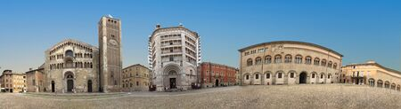 Parma, Italy - Piazza del Duomo with the Cathedral and Baptistery, built in 1059. Romanesque architecture in Emilia-Romagna