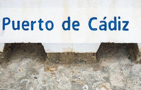 harbor of Cadiz (Puerto de Cadiz) sign at entrance of the harbor
