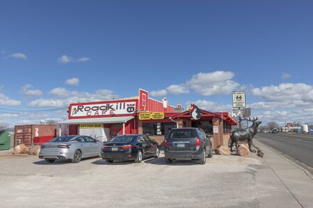 Seligman, USA - March 7, 2019: old historic Roadkill cafe  under clear blue sky in Seligman.