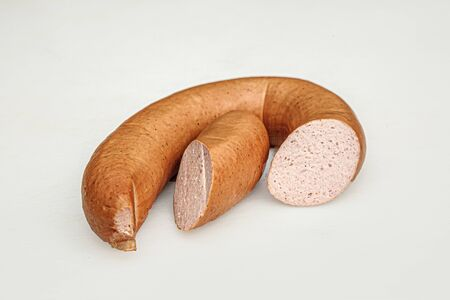 detail of meat sausage cutted in two pieces