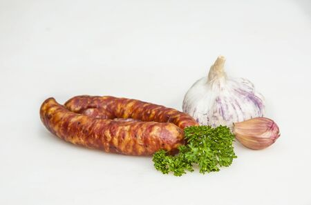 delicious sausages handmade by the butcher with traditional recipe
