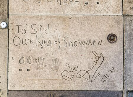 Los Angeles, USA - June 26, 2012: handprints of Bebe Daniels in Hollywood in the concrete of Chinese Theatre's forecourt  in Los Angeles. There are nearly 200 celebrity handprints in the concrete of Chinese Theatre's forecourt.