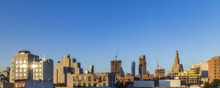 skyline of New York in sunset seen from Brooklyn. Brooklyn is the most populous of New York Citys five boroughs, with a Census-estimated 2,6 Mio people.