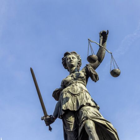 lady justice as symbol in frankfurt at the Roemer square Stockfoto