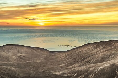romantic sunset in Lanzarote with view to the ocean