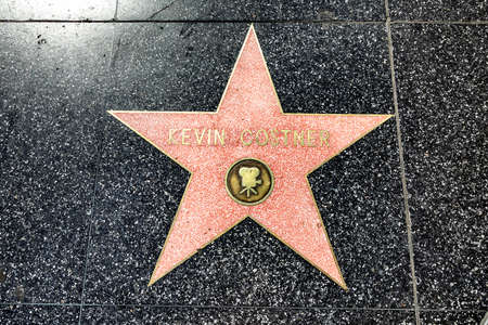 LOS ANGELES, USA - MAR 17, 2019: closeup of Star on the Hollywood Walk of Fame for Kevin Costner.