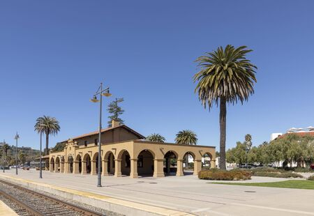 scenic Santa Barbara train station built in Mission style Stock Photo
