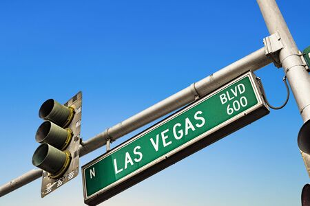 street sign Las Vegas Boulevard in Las Vegas, USA Stock Photo