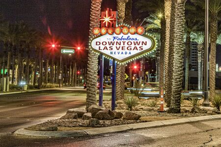 The Welcome to Fabulous Downtown Las Vegas sign by night