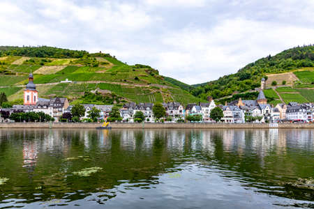scenic view to village of Zell at the Moselle valley
