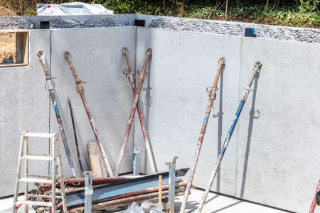 cellar at a construction site with waterproof concrete called white cellar construction Banque d'images