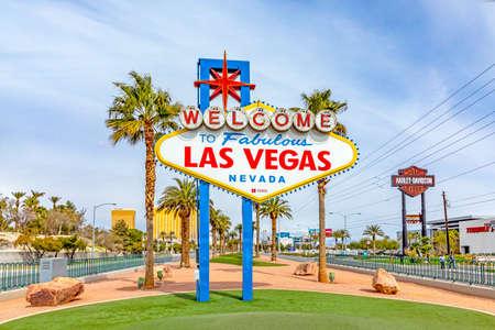 Las Vegas, USA - MAR 10, 2019: famous Las Vegas sign at city entrance, detail at daytime.