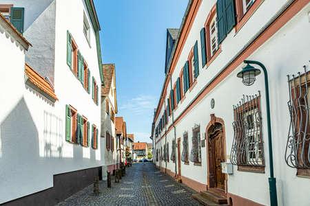 old narrow street in Hochheim, Hesse, Germany at the rheingau wine route Фото со стока