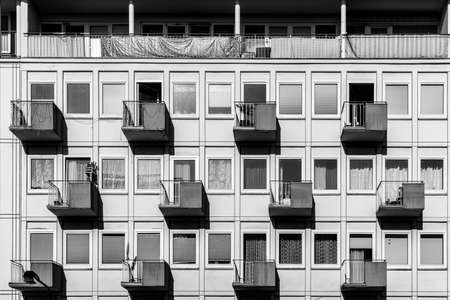 facade of house in typical social housing architecture in Germany Фото со стока