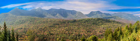 panoramic view to the white Mountains in New Hampshire