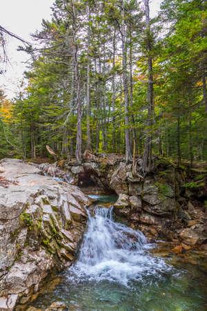 creek  Pemigewasset River flows throug the white mountains at scenic point otter rocks