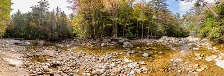 creek  Pemigewasset River flows through the white mountains at scenic point otter rocks