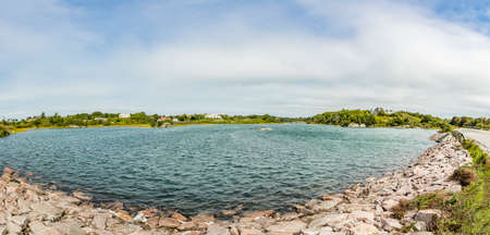 panoramic view of coastline, Newport, Rhode island, USA