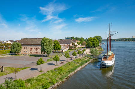 view to the old Bastion with historic ship in Mainz Kastel under blue sky
