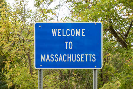 welcome sign to Massachusetts in blue color
