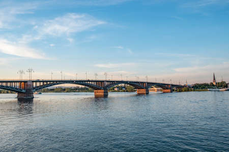 view to Theodor Heuss bridge in Mainz, Germany in sunset mood
