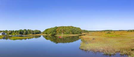 boat at beautiful lake landscape at Harwich at Cape Cod island Фото со стока