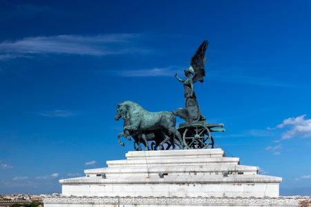 quadriga at Emmanuel II National Monument in Rome under blue sky