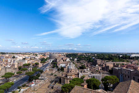 skyline of Rome with colloseum and forum Romanum, Italy