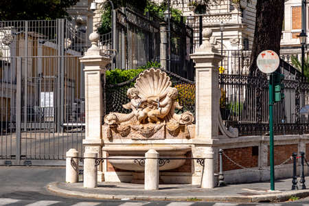 fountain with shell at the American embassy in Rome, Italy Фото со стока