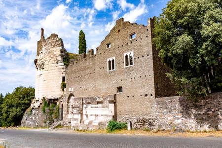 Mausoleo di Cecelia Metella Fachade in Via Appia antica at Rome - Italy