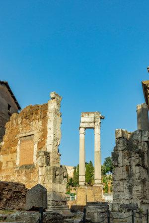 old roman pillars at forum romanum in Rome