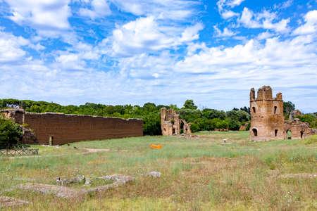 ruins of Circus of Maxentius castle, Via Appia Antica, Rome also known as circus of Caracalla, Rome
