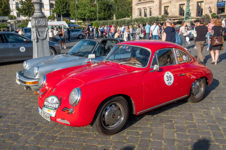 Wiesbaden, Germany - September 24, 2021: the Porsche 356 SC reaches the final goal of the Oldtimer ralley Wiesbaden in Wiesbaden after a challenge in the Rheingau, Germany. Редакционное