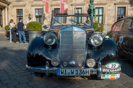 Wiesbaden, Germany - September 24, 2021: the Mercedes Benz 170 Cabrio reaches the final goal of the Oldtimer ralley Wiesbaden in Wiesbaden after a challenge in the Rheingau, Germany.