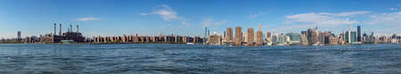 NEW YORK, USA - OCT 6, 2017: panorama of New York with river Hudson and UN building.