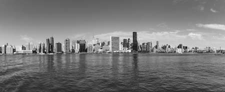 NEW YORK, USA - OCT 10, 2017: panorama of New York with river Hudson and UN building.