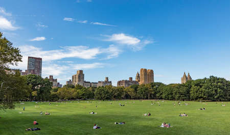 NEW YORK, USA - OCT 6, 2017: people relax in front of trees at Sheep Meadow Central Park in New York, USA. Редакционное