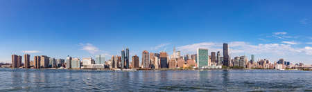 New York, USA - October 6, 2017: panorama of New York with river Hudson and UN building.